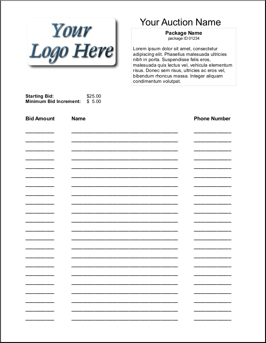 silent auction bid sheets produce professional looking bid sheets