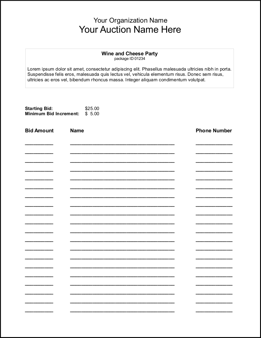 silent auction bid sheets index of