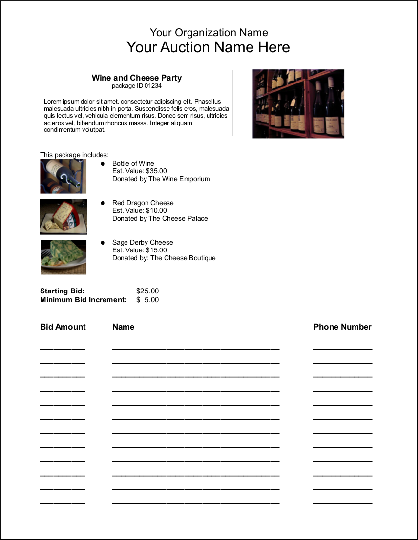 silent auction bid sheet template 1641 itemized bid sheet free – Sample Silent Auction Bid Sheet